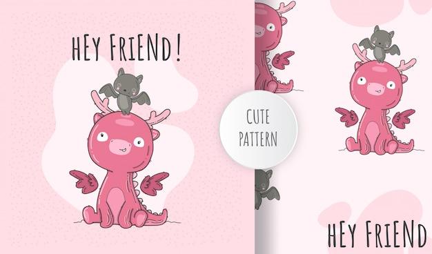 フラットシームレスパターンかわいい赤ちゃん恐竜ピンク