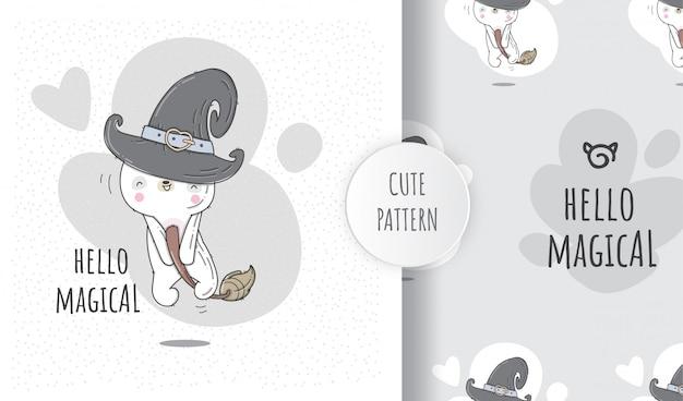 フラットパターンかわいい動物の赤ちゃんクマハロウィーン