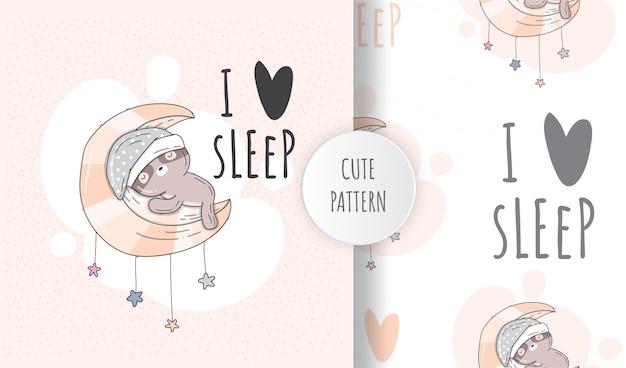 月で寝ているフラットシームレスパターンかわいいナマケモノ