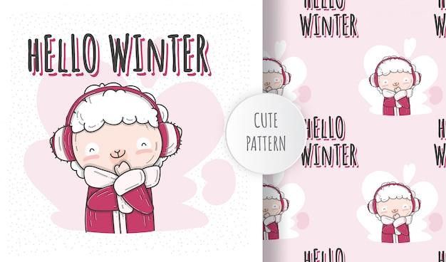 Плоский рисунок милый ребенок овец зимний сезон