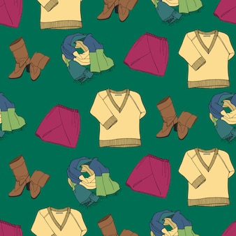 衣類とアクセサリーとシームレスなパターン
