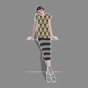 白い輪郭のストライプスカートの女の子