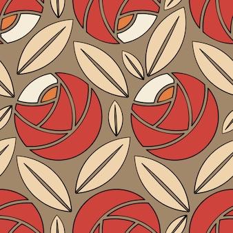 バラと茶色の葉でレトロなスタイルのシームレスパターン