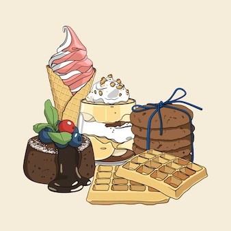 お菓子のカラフルな孤独な手描きのセット
