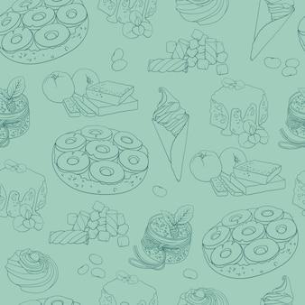 手描きのお菓子とのシームレスなパターン。