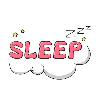 Мультяшный рисованной символ сна с облаками и звездами.