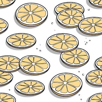 手でシームレスなパターンは、白い背景に影でレモンスライスを描画します。