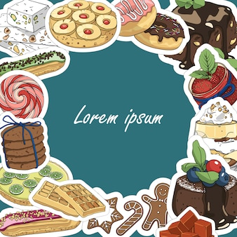 Круглая рамка фон для текста из десертов и сладостей. шаблон