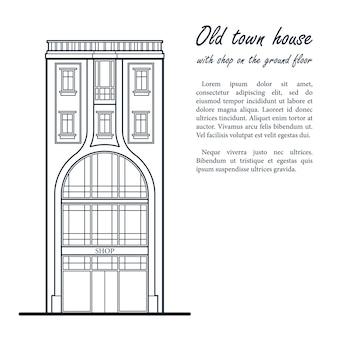 Старый таунхаус с магазином на первом этаже. темно синий контурный рисунок. шаблон для вашего текста.
