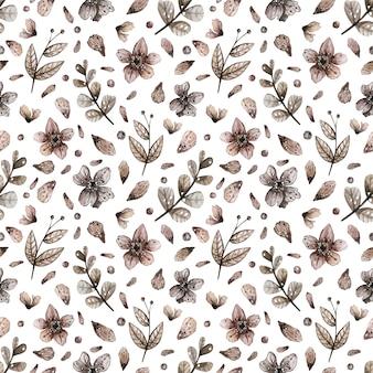 魔法の野生の花の水彩画のシームレスパターン。