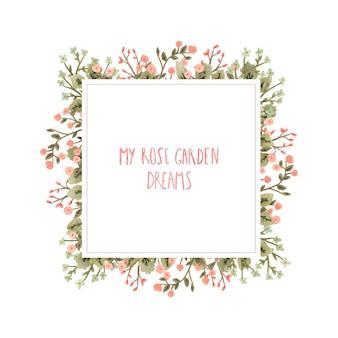 ロマンチックなスタイルの花の水彩画フレーム。