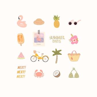 Большой набор стильных элементов на тему пляжа и летнего отдыха.