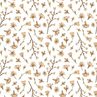 ロマンチックなスタイルの白い花を水彩のシームレスパターン。