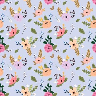 カラフルな野生の花とのシームレスなベクターパターン。