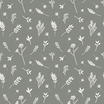 花、ハーブ、植物の要素を持つ手でシームレスなパターンをベクトル描画スタイル