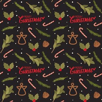Бесшовный фон на рождество с праздничной надписью и традиционными элементами. скандинавский стиль