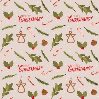 Красочные бесшовные шаблон на рождество с праздничной надписью и традиционными элементами. скандинавский стиль