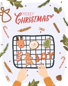 Рождественская открытка с элементами зимы. нарисованная рукой иллюстрация зимы с печеньями рождества.