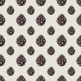 森の錐体と水彩画のベクトルシームレスなパターン。植物のイラスト。