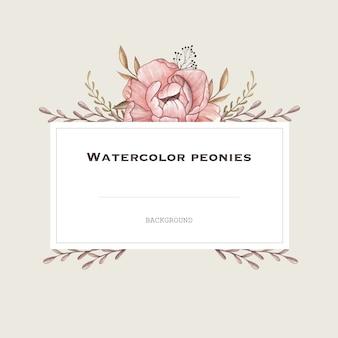 ヴィンテージスタイルのパステル牡丹と水彩ベクトルフレーム。デザインの背景。