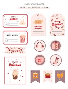 バレンタインのギフトタグ、ラベル、ロマンチックな美しさの要素を持つステッカーのセット。