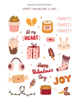 バレンタインの日の要素を持つロマンチックなステッカーシート。