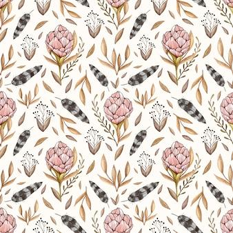 牡丹、森林の葉、果実、ビンタの羽の水彩画のベクトルシームレスなパターン