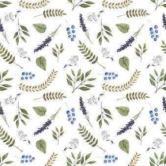 野生の森の花と水彩のシームレスなベクトルパターン。