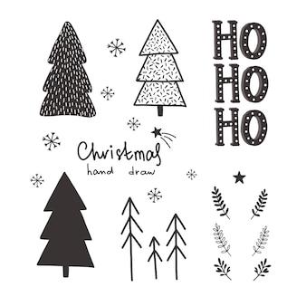 Вектор рождество ручной обращается набор.