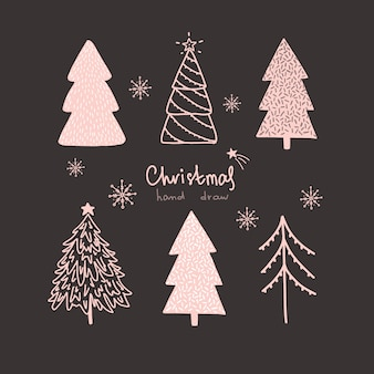 ベクトルクリスマスと新年の手は、描画されたセット