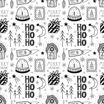 Вектор рождество и новый год рисованной бесшовные модели