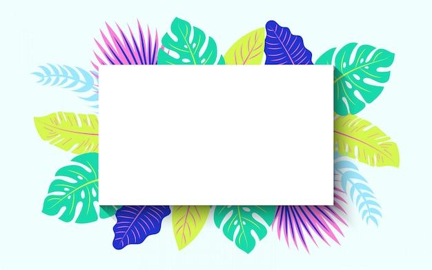 Горизонтальная тропическая летняя рамка