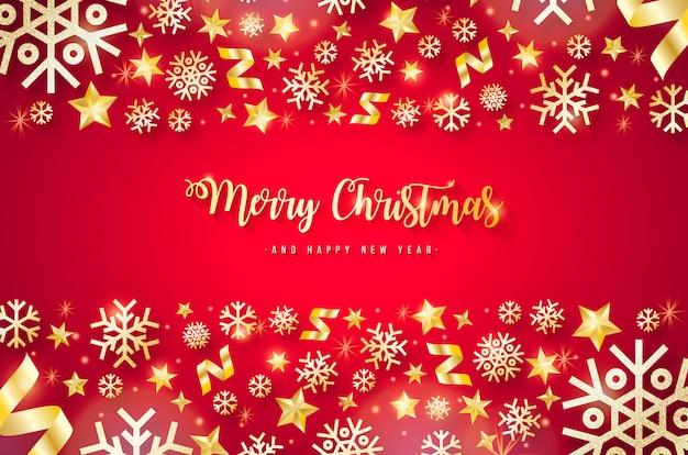 金色の要素を持つエレガントな赤いクリスマス背景