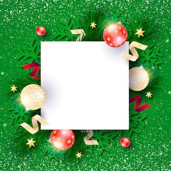 Красивая новогодняя рамка с зеленым фоном
