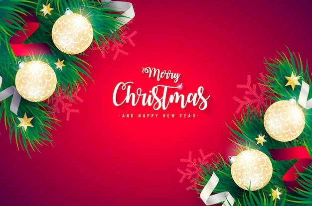 Реалистичная рождественский фон с зелеными ветками