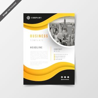 黄色の波と抽象的なビジネスチラシ