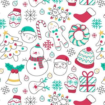 かわいい手描きのクリスマスパターンの異なる要素