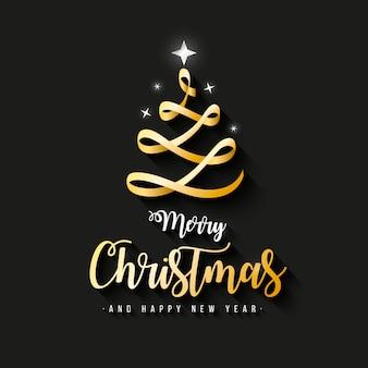 エレガントなメリークリスマスバナーゴールドリボン