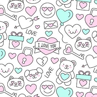 かわいい手描きのバレンタインデーのパターン