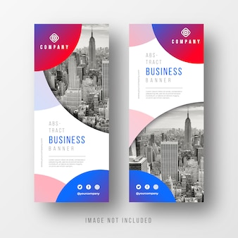 サークルと抽象的なビジネスバナーのテンプレート