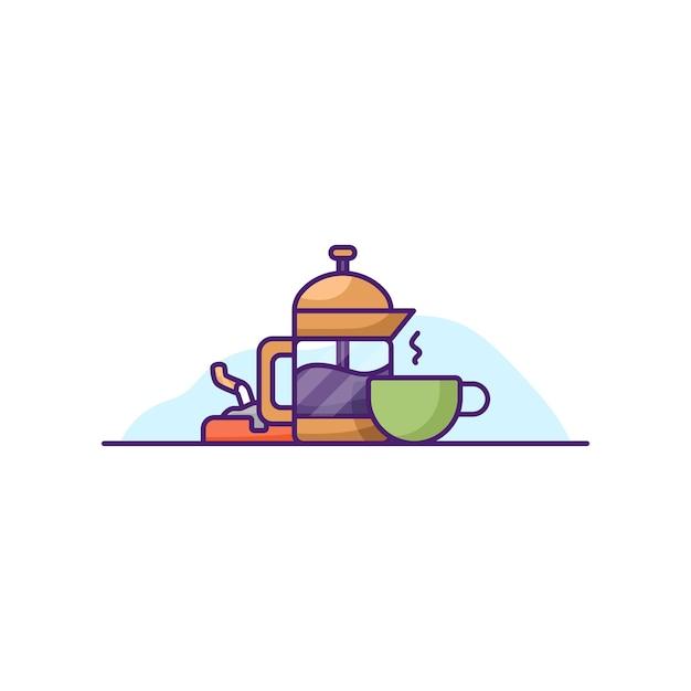 ミニコーヒーバーのイラストベクトルは、隔離された