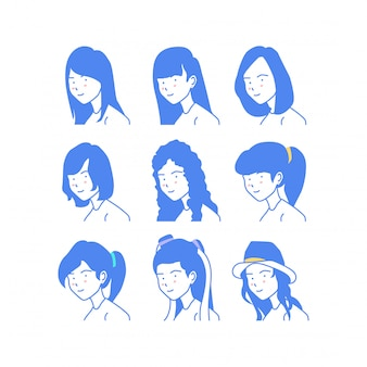 女性スタイルの顔ベクトルイラスト集
