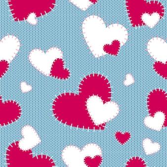 縫製された心のニットシームレスパターン。