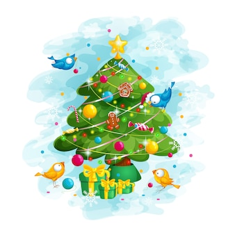 鳥はクリスマスツリーを飾る