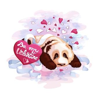 かわいいパンダとポストカードの心。バレンタイン・デー。