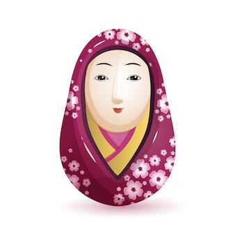 Онна дарума японская кукла в фиолетовом кимоно.