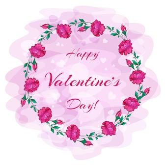 バレンタインデーの赤いバラとつぼみの花輪。
