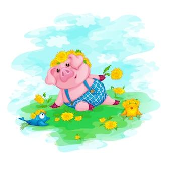黄色の花と面白い鳥の花輪の子豚