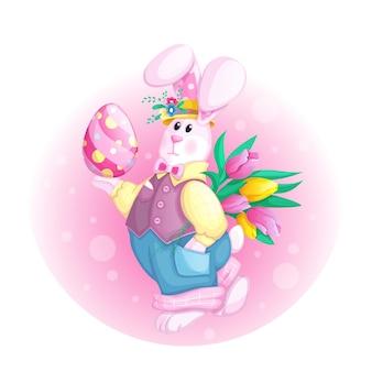 Милый белый пасхальный кролик в шляпе с букетом тюльпанов.