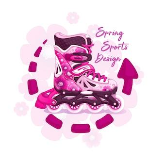 春の花柄の女の子のためのローラースケート